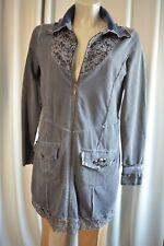 BIBA long Tunika Shirt Kleid Gr. M Batik Blau  Strass TOP *A253