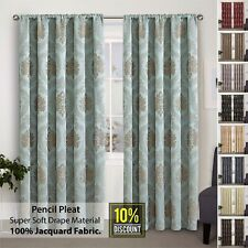 Pencil Pleat Curtains Pair Ready Made Fully Lined + Tie Backs 66x72 90x90