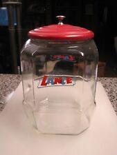 "Vintage Large 10.25"" Glass Lance Store Display Jar With Metal Lid  B8655"
