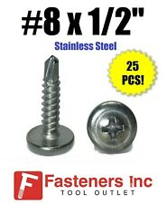 AISI 304 Stainless Steel Self-Tapping Sheet Metal Screws 200 pcs TypeA 18-8 #8 X 1-1//2 Truss Phillips Drive