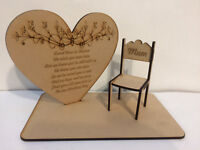 Loved Ones in Heaven Wedding Memory Table Top Plaque Chairs Can be Personalised