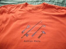 Life Is Good Action Hero T Shirt, Orange, Cotton, Size Small, Very Good