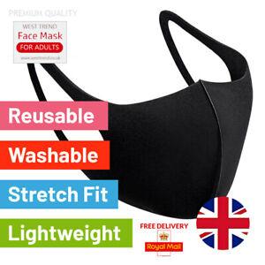 Premium Face Mask Breathable Reusable Black Unisex Covering Virus Protection UK