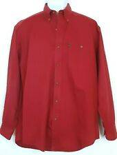 Alexander Julian Colours Button Front Shirt Men's Size M Red Long Sleeve Pocket