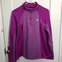 Fila Top Womens Size L Zip Fleece Purple Long Sleeve Large