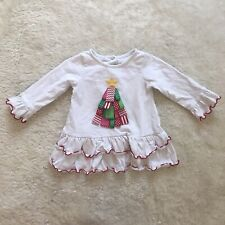 Goodlad Baby Girl Embroidered Christmas Tree Top 18M with Ruffle Trim
