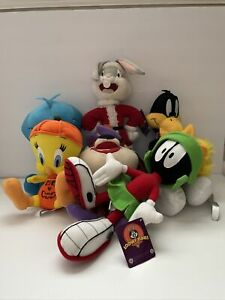 Vtg 90s Looney Toons Plush Lot Of 6 Bugs Marvin The Martian Daffy, Tweety 2, She