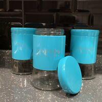 Set Of 3 Metallic Glass Tea Coffee Sugar Storage Jars Canisters Pots Storage Jar