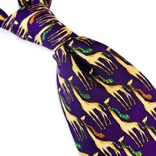 Brooks Brothers Makers Mens 100% Silk Neck Tie Purple Giraffe MADE USA 3.75W 60L