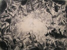 Large old master drawing, German school, preparatory for ceiling fresco, Rococo