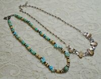 VINTAGE SOUTHWEST TURQUOISE & AGATE STONE BEADED SILVER TONE NECKLACE LOT