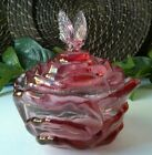 Beautiful Vintage Fenton Cranberry Pink Rose Bowl Butterfly Covered Candy Dish