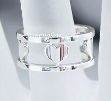 TIFFANY & CO STERLING SILVER 5 HEART WIDE OPEN BAND RING 6-EXCELLENT