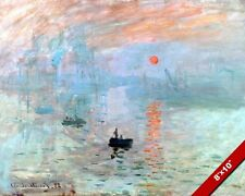 SUNRISE AT SEA BOAT CLAUDE MONET FINE ART PAINTING REAL CANVAS GICLEE 8X10 PRINT