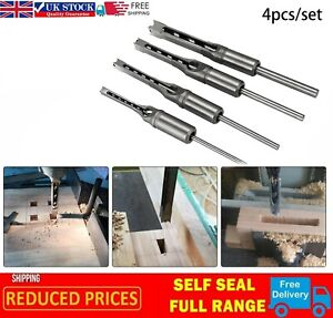 4x/set Auger Drill Bit Woodworking Tools Hollow Square Hole Saw Mortise Chisel