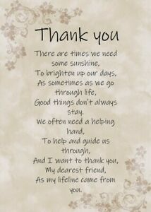 Thank You Card - Thank you for being there A5 Card Friendship Remembrance Love