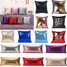 Reversible Mermaid Pillow Sequin Cover Glitter Sofa Decor Cushion Case Double