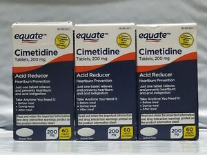 3PACK Equate Cimetidine Acid Reducer Heartburn Relief 200 mg, 60 Tablets