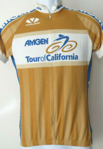 vtg WOMEN'S Gold VOLER AMGEN TOUR OF CALIFORNIA CYCLING JERSEY 2006 XS