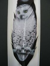 Moonlit White Snowy Owl - Russ Abbott Hand Painted Feather - COMMISSIONED