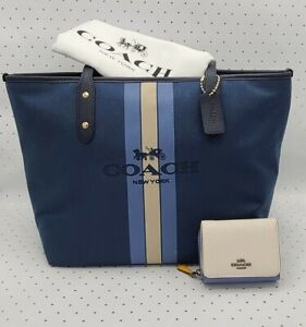 Coach HORSE & CARRIAGE CITY ZIP TOTE ~ Blue Midnight + SMALL TRIFOLD WALLET NWT