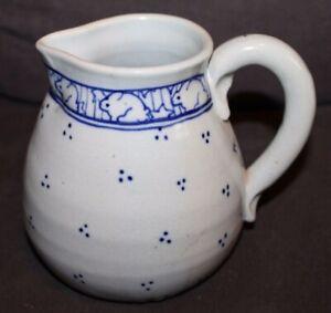 Vintage POTTING SHED? Cobalt Blue RABBITS Milk Pitcher