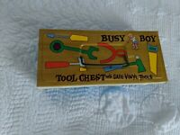 Vintage Busy Boy Tin Tool Chest with Safe Vinyl Tools with 6 Tools by Ohio Art