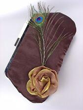 CHIC SATIN MARRON bouquet de fleurs plume paon Sac à main pochette soirée à