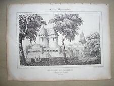 Lithographie du Chateau de Preissac  Gironde La Guienne monumentale Dagnac