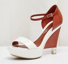 CHANEL Red White Patent Leather Platform Wedge High Heel Sandal Shoe 9-39