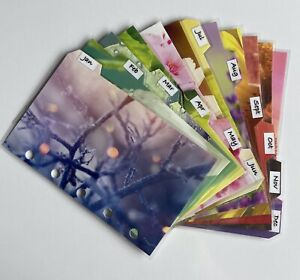 Filofax Mini Sized Dividers in Pretty Seasonal Month Designs - Fully Laminated