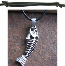 Fishbone Necklace Men's New Leather Black Surf Jewelery Surfer Style