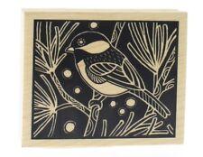 Inkadinkado Negative Space Bird on a Branch Chickadee Wooden Rubber Stamp