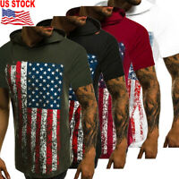 Men's Casual Short Sleeve American Flag Pattern Shirts Hooded Muscle Tops Blouse