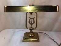 Vtg 1920-30's Adjustable Music Symbol Metal Brass Patina Desk Reading Table Lamp