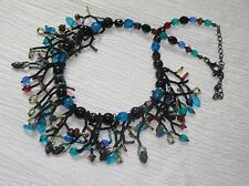 Estate Black Blue & Red Plastic Bead with Twig Like Fringe Necklace – 14 inches