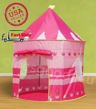 PORTABLE FOLDING PINK PLAY TENT CHILDRENS KIDS CASTLE CUBBY PLAY HOUSE TOY HUT..