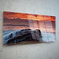 Wall Art Glass Print Canvas Picture Large Firey Dusk Sea Beach p122260 100x50cm