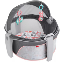Fisher-Price On The Go Baby Dome Playard w Shade, Folds Flat, Pink/Grey