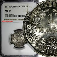 Germany - Empire Wilhelm II Silver 1914 E 1 Mark NGC MS64 NICE GEM BU KM# 14