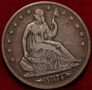 1874 Philadelphia Mint Silver Seated Half Dollar with Arrows