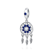 SOLID Sterling Silver Sparkling Dreamcatcher Pendant by Pandora's Wish