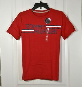 NWT KIDS YOUTH BOYS TOMMY HILFIGER RED T SHIRT CREW NECK SHORT SLEEVE SZ XL