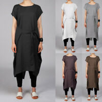 Plus Size Womens Cap Sleeve Cotton T-shirt Dress Lady Belt Knot Tunic Blouse Top