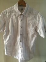 "Burton Shirt White Blue Short Sleeve Cotton Men's Size M 16"" Collar < T1498z"
