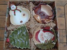 Brand New - Tabletops Set of 4 Christmas Candy Bowls Hand Crafted & Painted