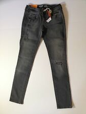 Mossimo NWT Womens Juniors Skinny Jeans Gray Distressed Slim fit low rise Size 5