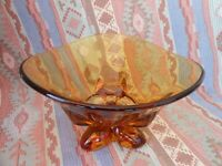 Vintage Viking Amber Art Glass Bowl  Candy  Mid Century Three Footed Heavy Glass
