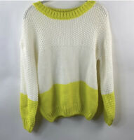 NWT Elodie Women's Color Block Crew Neck Sweater White/Neon Yellow Size L