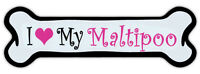 Pink Dog Bone Shaped Magnet - I Love My Maltipoo - Cars, Trucks, Refrigerators